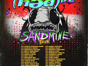 (HED)PE Sandmine Tour Poster.  Hate Grenade supports on AUG 24 at McGarvey's in Altoona, PA and AUG 25 at The Cave in Binghampton, NY
